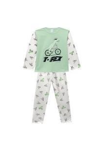 Pijama Juvenil Abrange T-Rex Na Bicicleta Verde E Cinza Abrange Casual Verde