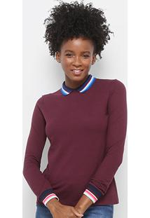 Camisa Polo Lacoste Manga Longa Detalhes Listrados Feminina - Feminino-Vinho+Azul