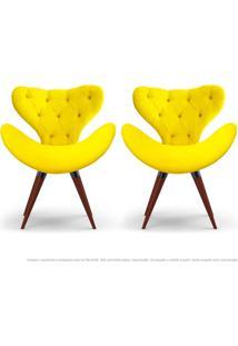 Kit De 02 Poltronas Decorativas Cadeiras Egg Com Capitonê Amarela Com Base Fixa De Madeira