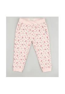 Calça Infantil Estampada Floral Em Moletom Com Bolsos Rosa Claro