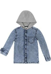 Camisa Jeans Infantil Menino Com Capuz Puc