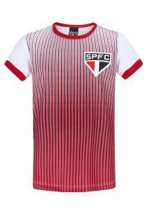 Camiseta Do São Paulo Stripes Feminina - Infantil - Vermelho/Branco