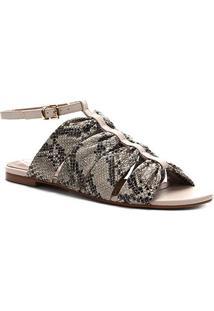 Rasteira Couro Shoestock Cobra Drapeado - Feminino-Off White