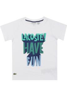df74457f0a5 Camiseta Lacoste Kids Manga Curta Menino Branca