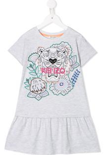 Kenzo Kids Vestido Com Estampa De Tigre - Cinza