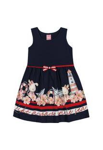 Vestido Kinha Primeiros Passos Em Cotton E Meia Malha Alto Verão
