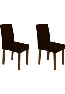 Conjunto Com 2 Cadeiras Giovana Ii Castanho E Marrom Escuro