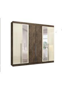 Guarda-Roupa Casal Com Espelho New Turim 6 Pt 4 Gv Nogal E Off White