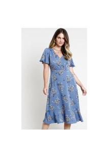 Vestido Feminino Midi Estampado Floral Com Babado Manga Curta Azul