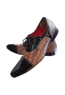 Sapato Masculino Italiano Social Executivo Em Couro Art Sapatos Marrom Rajado