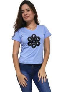 Camiseta Feminina Gola V Cellos Honey Premium Azul Claro - Kanui