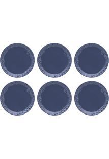 Conjunto 6 Pratos Para Sobremesa Oxford Mia Maré 21Cm Porcelana Azul
