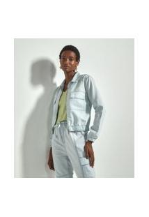 Jaqueta Jeans Lisa Com Elástico E Bolsos Frontais Comfy | Marfinno | Azul | G