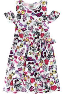 Vestido Evasê Lol® Menina Malwee Kids Branco - 4