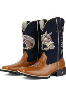 Bota Country Sapatofran Texana Rebento Bico Quadrado Cara De Cavalo Azul-Marinho