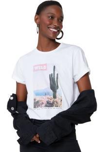 Amaro Feminino T-Shirt Cactus Print, Branco