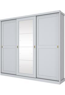Guarda Roupa Olympia Henn 03 Portas Deslizantes 4 Espelhos Branco Hp