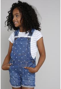 Jardineira Jeans Infantil Estampada De Estrelas Azul Médio