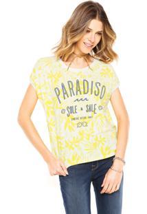 Camiseta Cantão Paradiso Bege/Amarela/Azul-Marinho