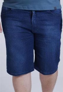 Bermuda Hd Plus Size Jeans Regular Confort Fit Masculina - Masculino-Azul