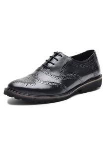 Sapato Oxford Fepo Store Tratorado Couro Solado Eva Preto