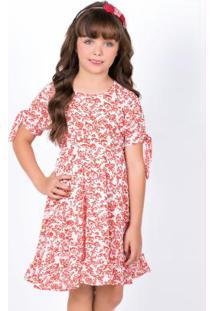 Vestido Infantil Floral Com Detalhe Na Manga
