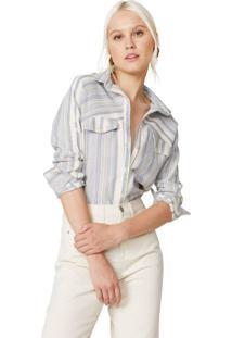 Amaro Feminino Camisa Manga Longa Com Lapela, Listrado Azul Claro Fino