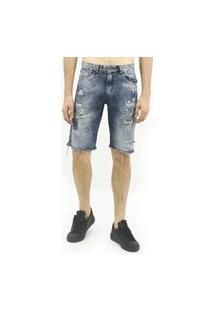 Bermuda Masculina Jeans Destroeyd Gray