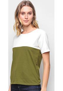 Camiseta Volare Básica Bicolor Feminina - Feminino-Off White