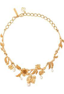 Oscar De La Renta Colar Floral Com Gotas Peroladas - Dourado