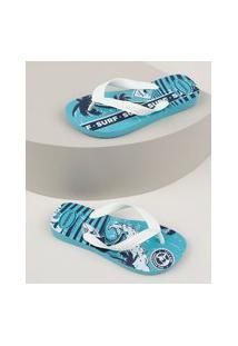Chinelo Infantil Havaianas Athletic Fc Estampada Azul Claro