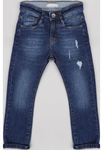 Calça Jeans Infantil Com Rasgos Azul Escuro