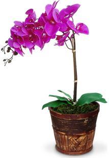 Arranjo De Flores Artificiais Felicitadecor Orquideas Roxa Cachepot Madeira Marrom 55X20Cm