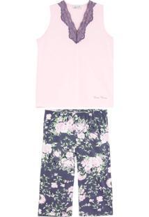 Pijama Plus Size Feminino Lua Cheia Pescador Floral