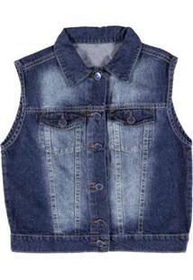Colete Jeans Juvenil Para Menino - Azul