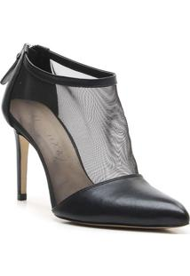 Ankle Boot Com Tule - Preta- Salto: 9,5Cm - Vicevicenza