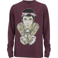 Camiseta Manga Longa Urgh Scarface - Masculina - Vinho 32910348c37