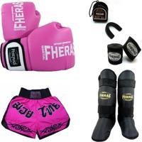 599cc12fd Kit Muay Thai Oríon - Luva Bandagem Bucal Caneleira Shorts 08 Oz  Rosa Branco -