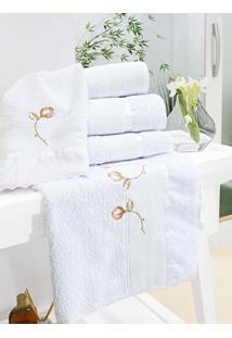 Toalha Banho E Rosto Amore Branco Bordado Flor Rosa Com 5 Peças - Valle Enxovais