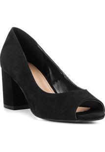 Peep Toe Shoestock Salto Médio Nobuck - Feminino-Preto
