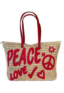 Bolsa Shopper Palha Peace Love Pink