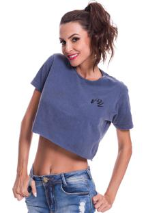 Camiseta Cropped Jazz Brasil Basica Azul