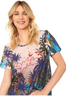 Camiseta Cantão Noite Estrelada Bege/Azul-Marinho - Kanui
