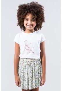 Camiseta Pica Pau Corações Reserva Mini Feminina - Feminino-Branco