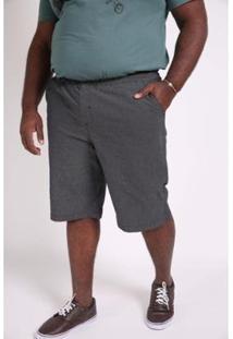 Bermuda Kauê Plus Size Lisa Bolso Masculina - Masculino-Preto