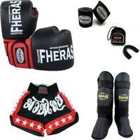 7ef796883 Kit Muay Thai Oríon Luva Caneleira Shorts Bucal Bandagem 08 Oz - Unissex