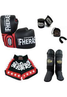 Kit Muay Thai Oríon Luva Caneleira Shorts Bucal Bandagem 08 Oz - Unissex
