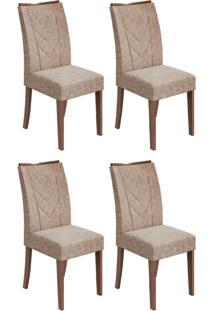 Conjunto Com 4 Cadeiras Atacama Ll Imbuia E Bege