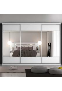 Guarda-Roupa Casal 3 Portas Espelhadas E 4 Gavetas Milano - Móveis Europa - Branco Acetinado