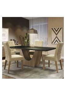 Conjunto Sala De Jantar Madesa Hadassa Mesa Tampo De Vidro Com 4 Cadeiras Rustic/Preto/Imperial